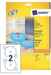 Etiket Avery L7676-25 CD full size mat wit 50stuks