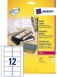 Etiket Avery L7671-25 76.2x46.4mm video bovenzijde 300stuks