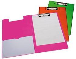 Klemmap LPC A4/Folio met 100mm klem + penlus neon roze