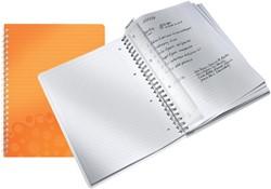 Notitieboek Leitz WOW A4 spiraal PP lijn oranje