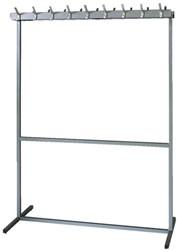 Garderoberek vrijstaand met 2x18 haken 135x61x183cm grijs