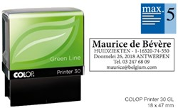 Tekststempel Colop 30 green line+bon 5regels Frans 47x18mm