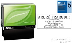 Tekststempel Colop 40 green line+bon 6regels Frans 59x23mm