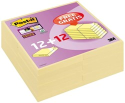 Memoblok 3M Post-it 654-SC+12 super sticky 76x76mm geel