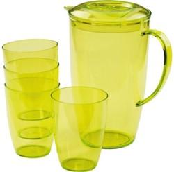 Schenkkan met 4 bekers transparant groen