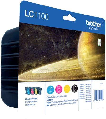 Inktcartridge Brother LC-1100VALBP zwart + 3 kleuren