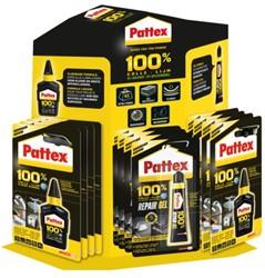 Lijm Pattex 100% display BTS 2015 à 24 stuks assorti