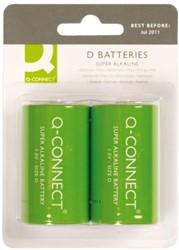 Batterij Q-Connect Mono D set à 2 stuks