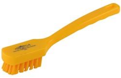 Afwasborstel plastic met rechthoekige kop geel