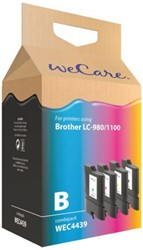 Inkcartridge Wecare Brother LC-1100 LC-980 zwart + 3 kleuren