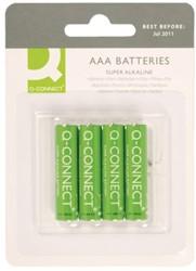 Batterij Q-Connect AAA set à 4 stuks