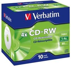 CD-RW VERBATIM 700MB 4X 10PK JC 1 STUK