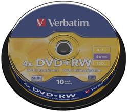 DVD+RW Verbatim 4.7GB 4x spindel 10stuks