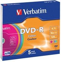 DVD-R Verbatim 4,7GB 16X Colour 5stuks-2