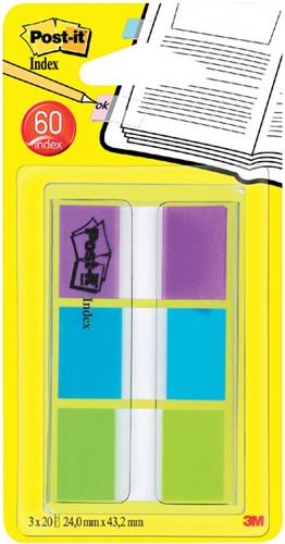 Indextabs 3M Post-it 680 24mmx43.2mm helder assorti