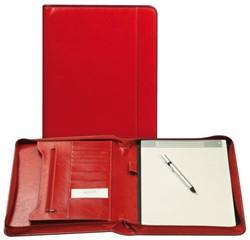 Schrijfmap Brepols A4 Palermo luxe met rits en blok rood