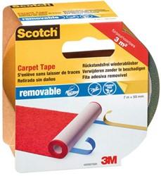Dubbelzijdige plakband Scotch tapijt 50mmx7m verwijderbaar