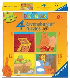 Puzzel Ravensburger Dikkie Dik 4x puzzels 6+9+12+16 stuks