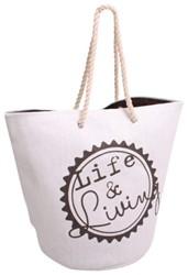 Strand-/ sauna tas Life & Living grijs/wit