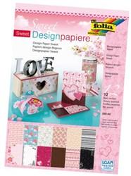 Designpapier Filio Din A4 165gr sweet blok à 12 vel ass