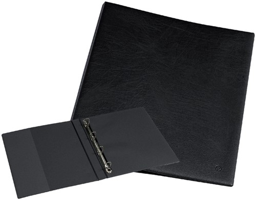 Ringband Rillstab Luxe A4 4-rings D-mech 25mm kunstleer zwart