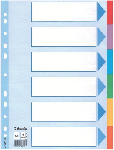 Tabbladen Esselte A4 11R karton 6-delig met voorblad