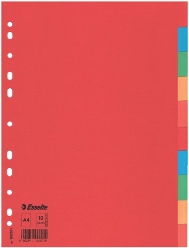 Tabbladen Esselte A4 11R karton 10-delig zonder voorblad