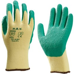 Handschoen grip latex groen/geel medium
