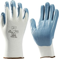 Handschoen grip Nitril foam wit/grijs medium