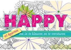 Kleurkaarten voor volwassenen happy 45stuks