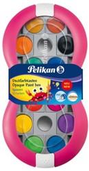 Dekverf Pelikan in roze doos assorti set à 12 napjes