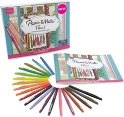 Fijnschrijver Papermate Flair set à 20 kleuren + kleurboek