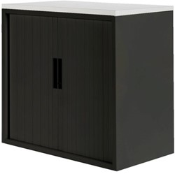 Roldeurkast 20H zwart met topblad wit