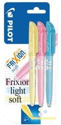Markeerstift PILOT Frixion soft blauw, geel, roze in blister