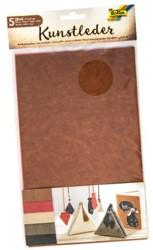 Kunstleer Folia 17x27cm assorti kleuren blister a 5 vellen