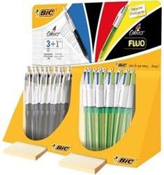 Balpen Bic 4kleuren Fluo en 3 kleuren + vulpotlood HB