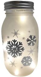 Glazen Pot mat glas met sneeuwvlok en ledverlichting  17cm