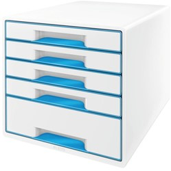 Ladenblok Leitz WOW 5 laden wit/blauw