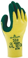 Handschoen Showa 310 grip latex groen/geel large