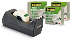 Plakbandhouder Scotch C38 recycled zwart met 3rol 19mmx33m