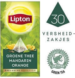 Thee Lipton Exclusive Groene thee mandarin 30 piramidezakjes
