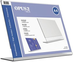 Tafel folderstandaard Opus2 A4 liggend glashelder