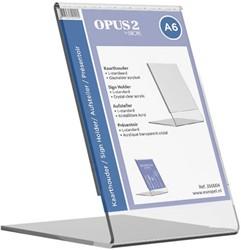 Tafel folderstandaard Opus2 A6 staand glashelder