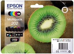 Inkcartridge Epson 202 T02E74 zwart + 3 kleuren + foto zwart