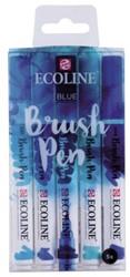Brushpen Talens Ecoline assorti blauw etui à 5stuks