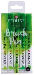 Brushpen Talens Ecoline assorti groen etui à 5stuks