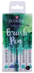 Brushpen Talens Ecoline assorti groen-blauw etui à 5stuks