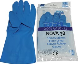 Huishoudhandschoen Nova latex blauw smal