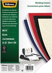 Voorblad Fellowes A4 lederlook zwart 25stuks