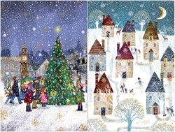 Kerstkaart Unicef kerstboom en dorp